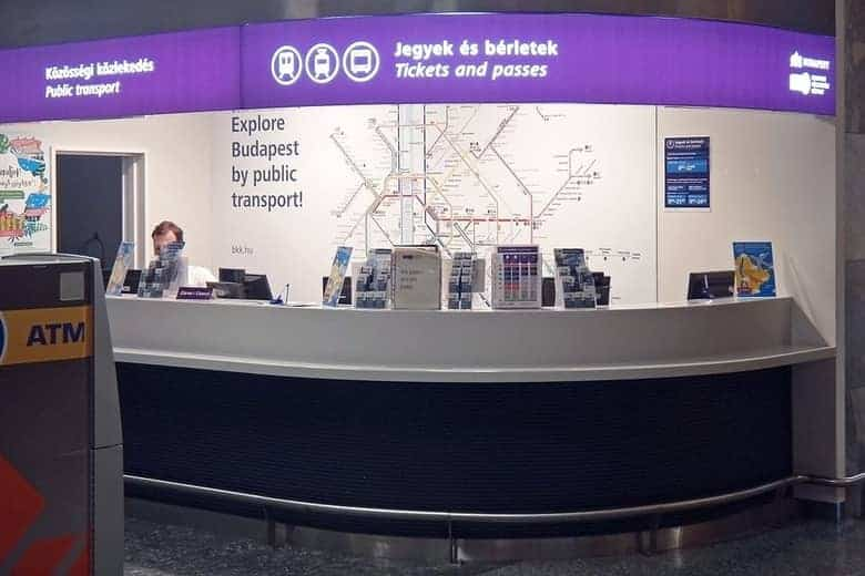 Public transport ticket counters at Budapest Airport