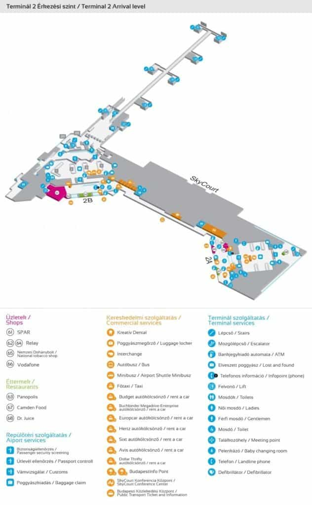 Liszt Ferenc Airport-Terminal 2 Arrival level map