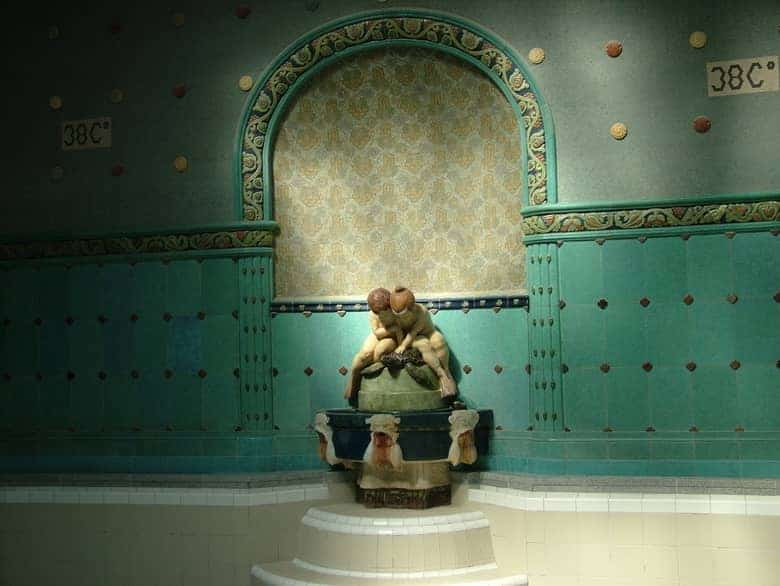 statue at indoor pool
