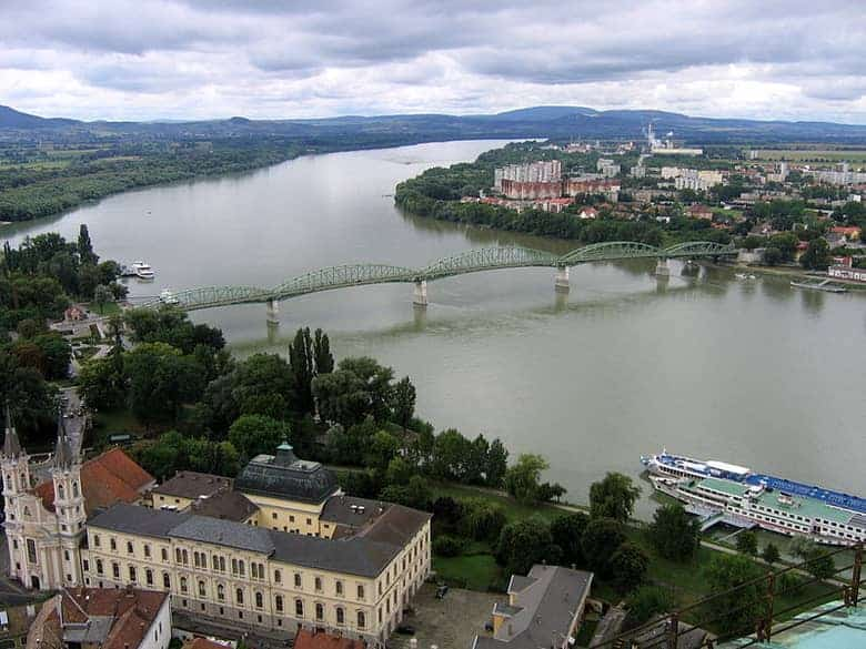 view from Basilica, Mária Valéria Bridge, Danube, ships