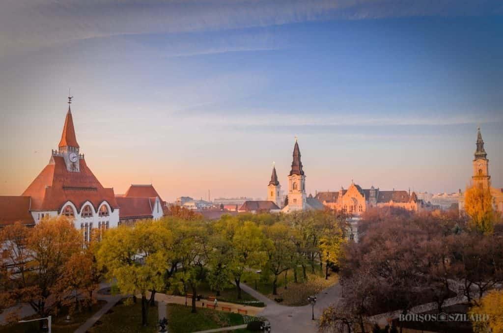 Churches, view of Kecskemét, autumn