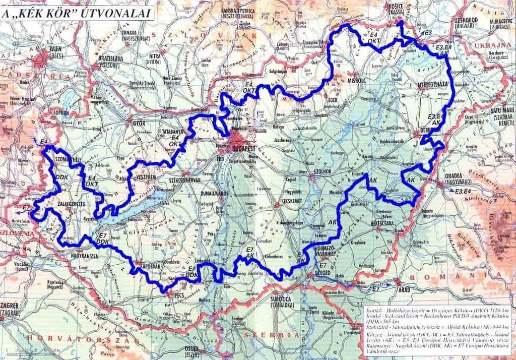 The Route of the National Blue Tour in Hungary