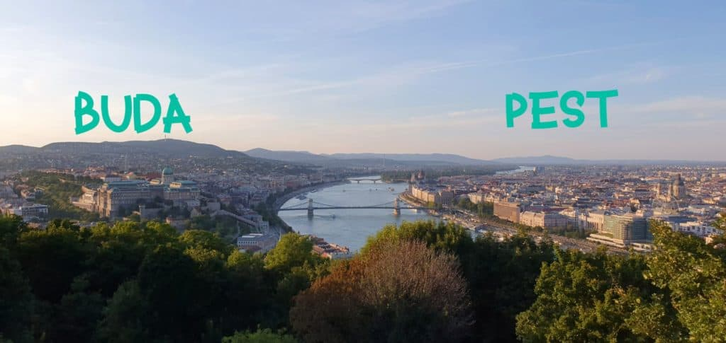 The Buda is on the left, Pest is on the right