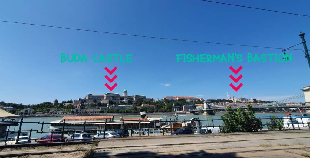 You are on the Pest side. You can see the Buda Castle and the Fisherman's Bastion.