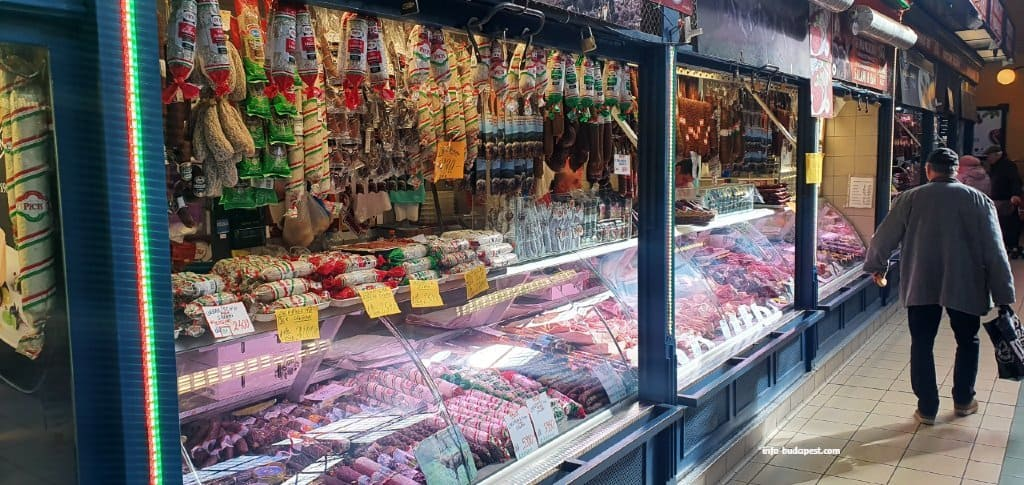 Csaba, Pick and Gyula sausages in Budapest Great Market Hall