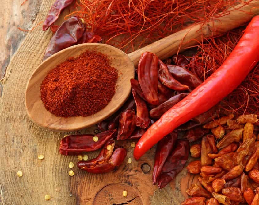 The famous Hungarian red paprika powder