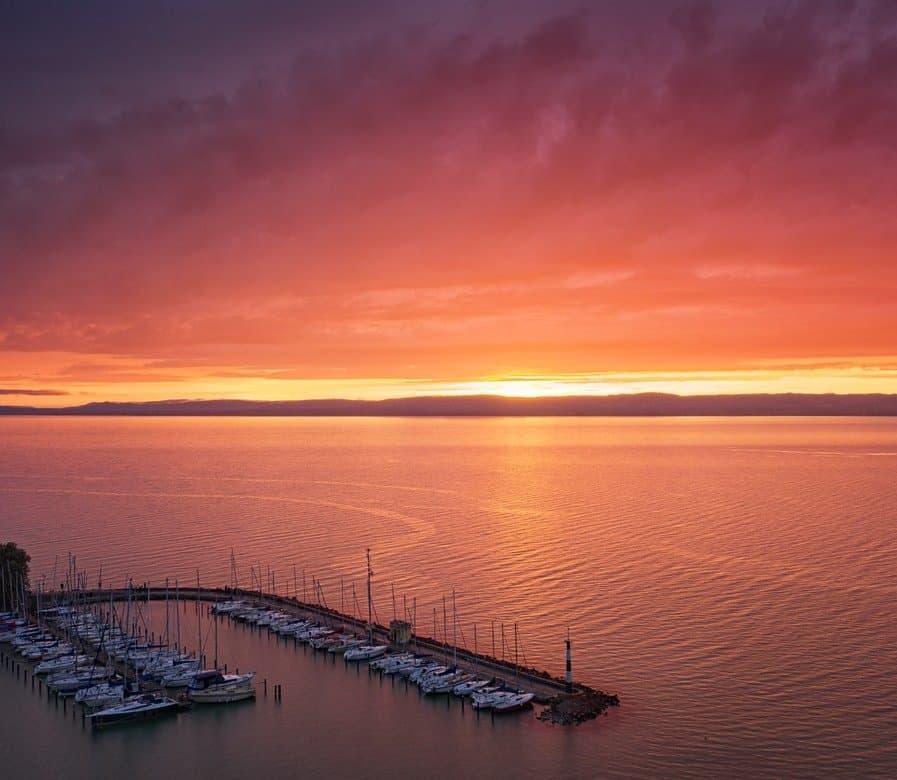 Sunset at Lake Balaton southern shore