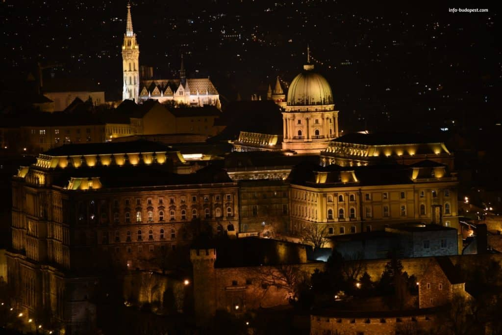 Panorama from Citadel-Buda Castle at night
