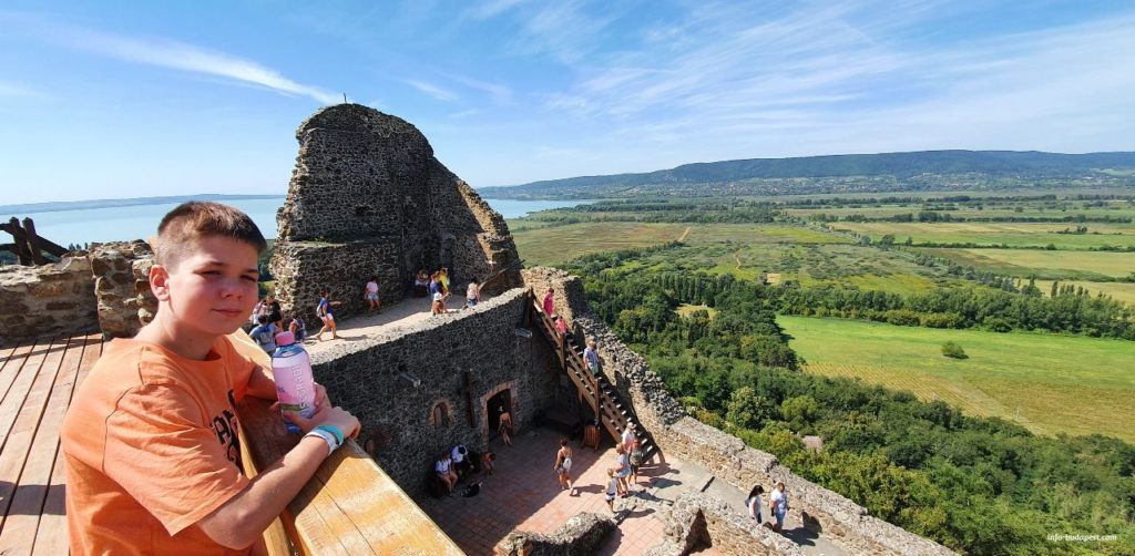 Beautiful panorama from the top of the towers of Szigliget Castle-My son  in the top of the Castle