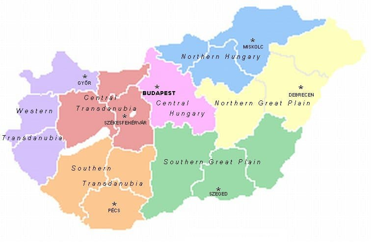 The 7 regions of Hungary